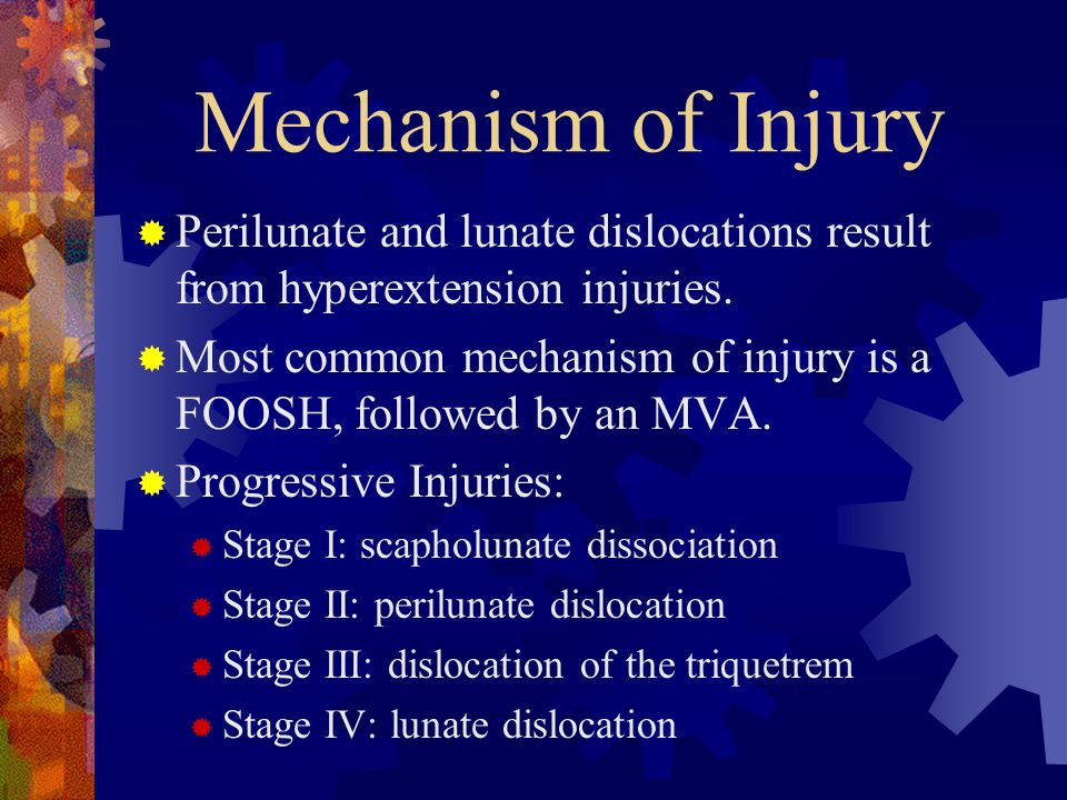 Mechanism of Injury Perilunate and lunate dislocations result from hyperextension injuries.