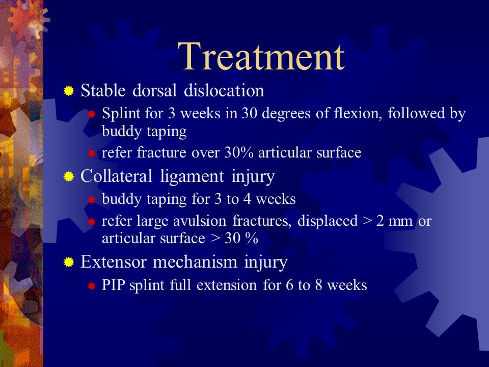 Treatment Stable dorsal dislocation Collateral ligament injury