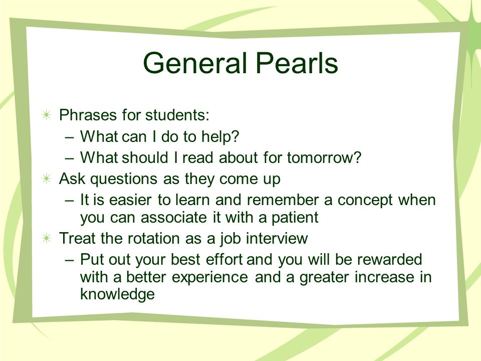 General Pearls Phrases for students: What can I do to help