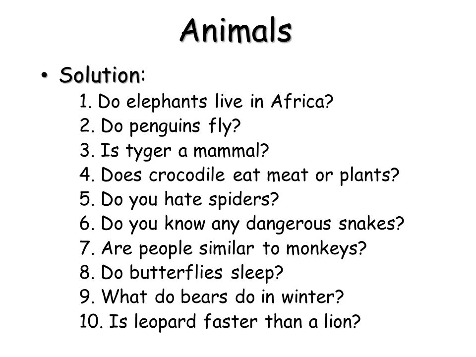 Animals Solution: 1. Do elephants live in Africa 2. Do penguins fly