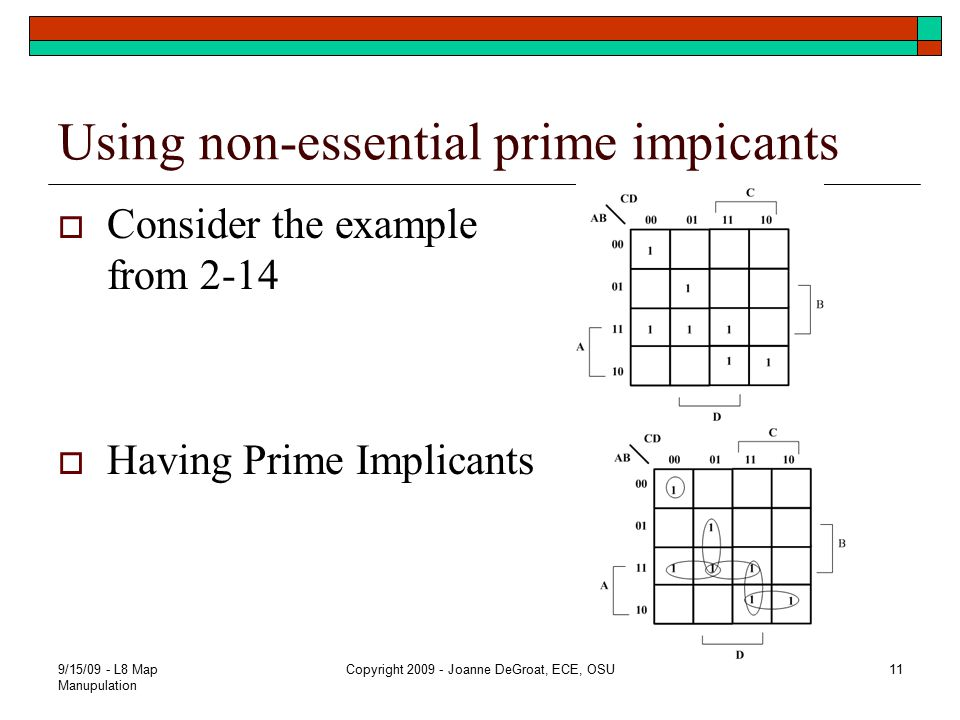 Using non-essential prime impicants