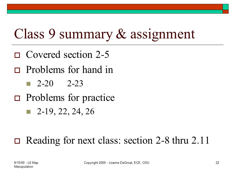 Class 9 summary & assignment