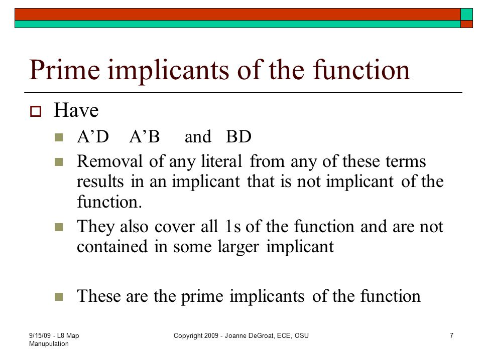 Prime implicants of the function