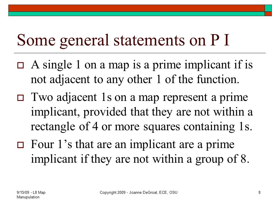 Some general statements on P I