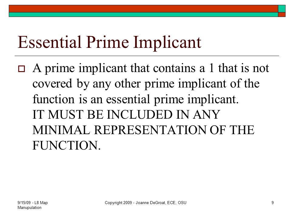 Essential Prime Implicant