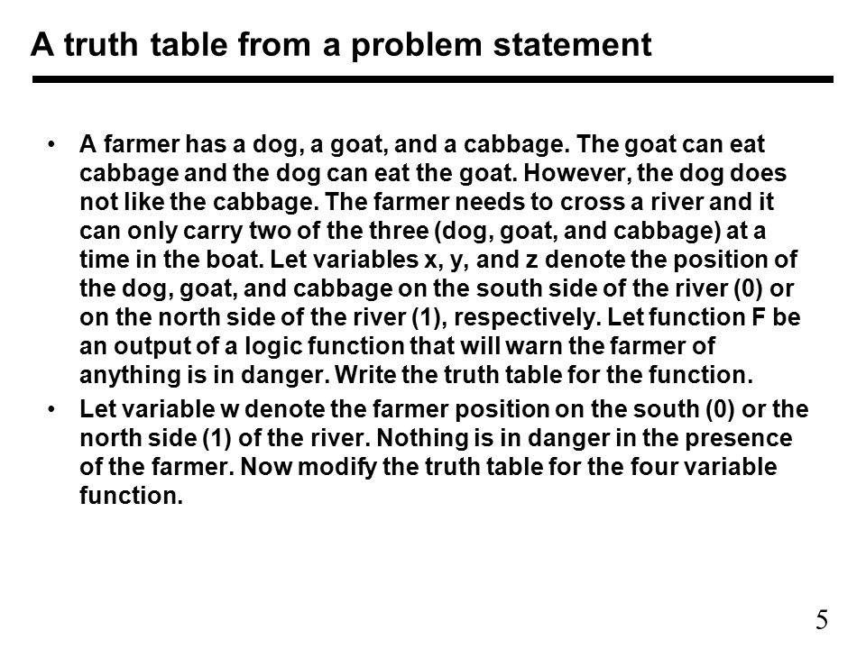 A truth table from a problem statement