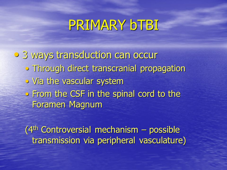 PRIMARY bTBI 3 ways transduction can occur