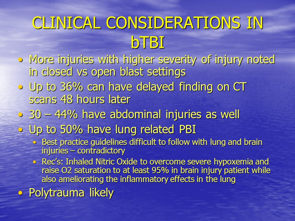 CLINICAL CONSIDERATIONS IN bTBI