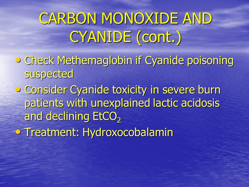 CARBON MONOXIDE AND CYANIDE (cont.)