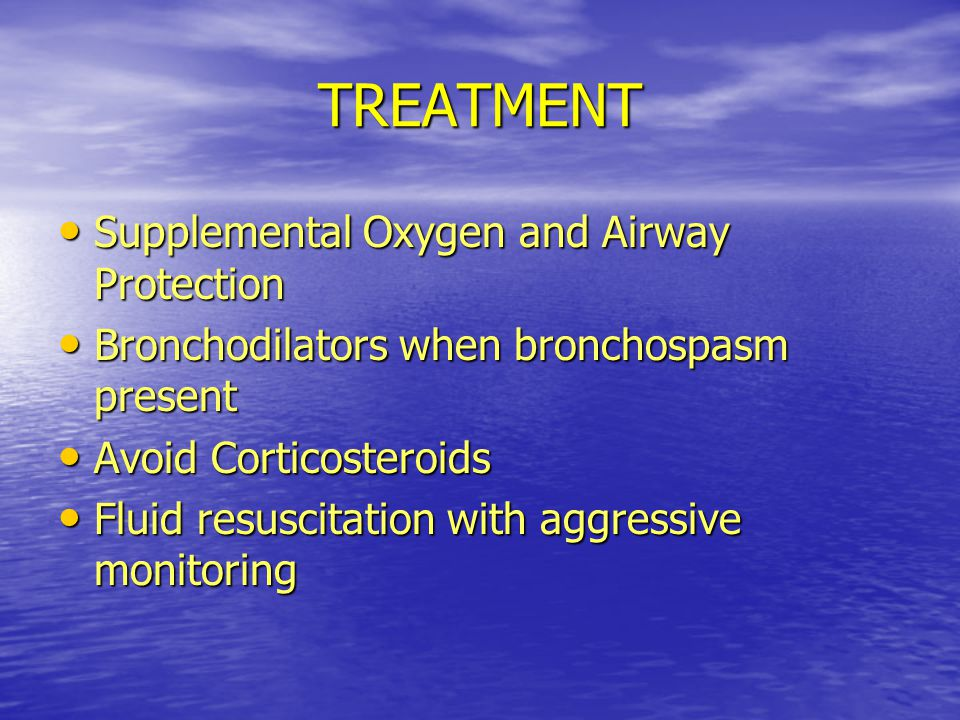 TREATMENT Supplemental Oxygen and Airway Protection
