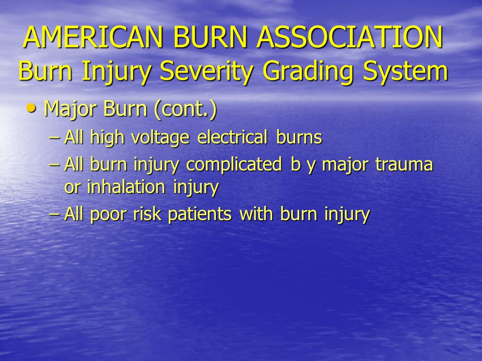 AMERICAN BURN ASSOCIATION Burn Injury Severity Grading System