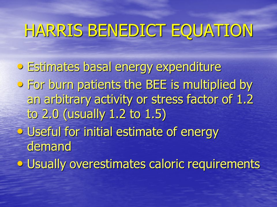 HARRIS BENEDICT EQUATION