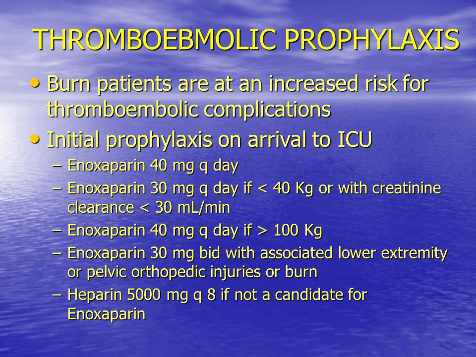 THROMBOEBMOLIC PROPHYLAXIS