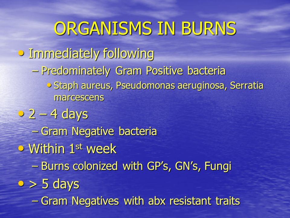 ORGANISMS IN BURNS Immediately following 2 – 4 days Within 1st week