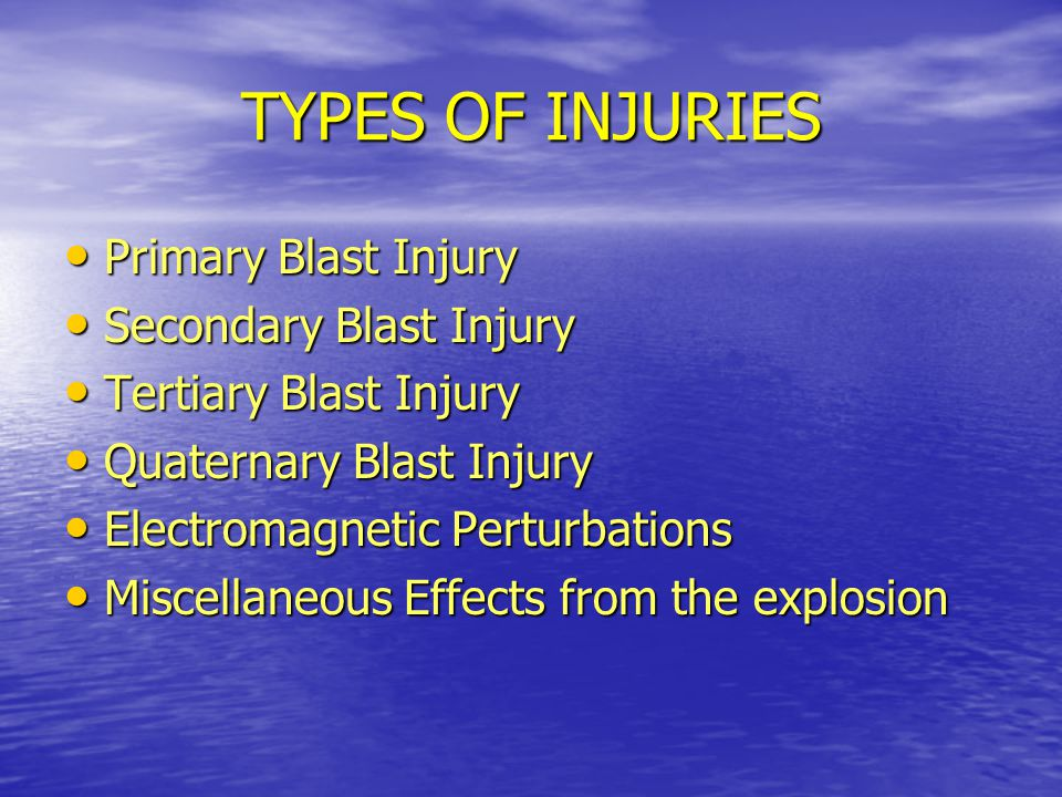 TYPES OF INJURIES Primary Blast Injury Secondary Blast Injury