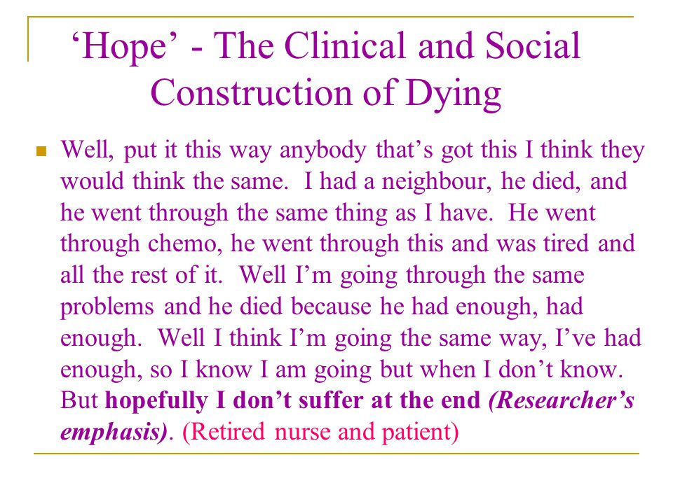 'Hope' - The Clinical and Social Construction of Dying