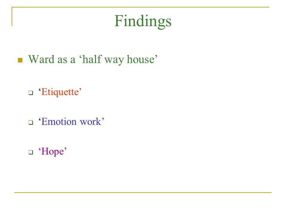 Findings Ward as a 'half way house' 'Etiquette' 'Emotion work' 'Hope'