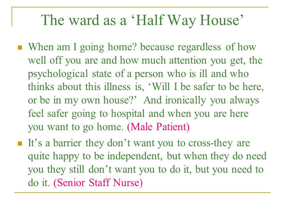 The ward as a 'Half Way House'
