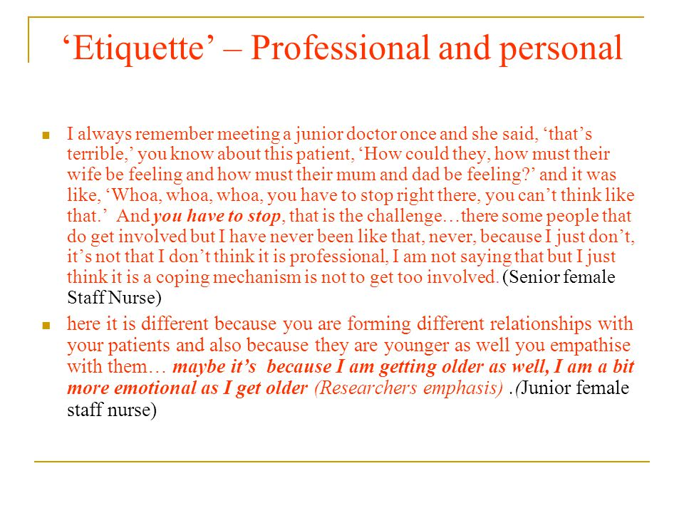 'Etiquette' – Professional and personal