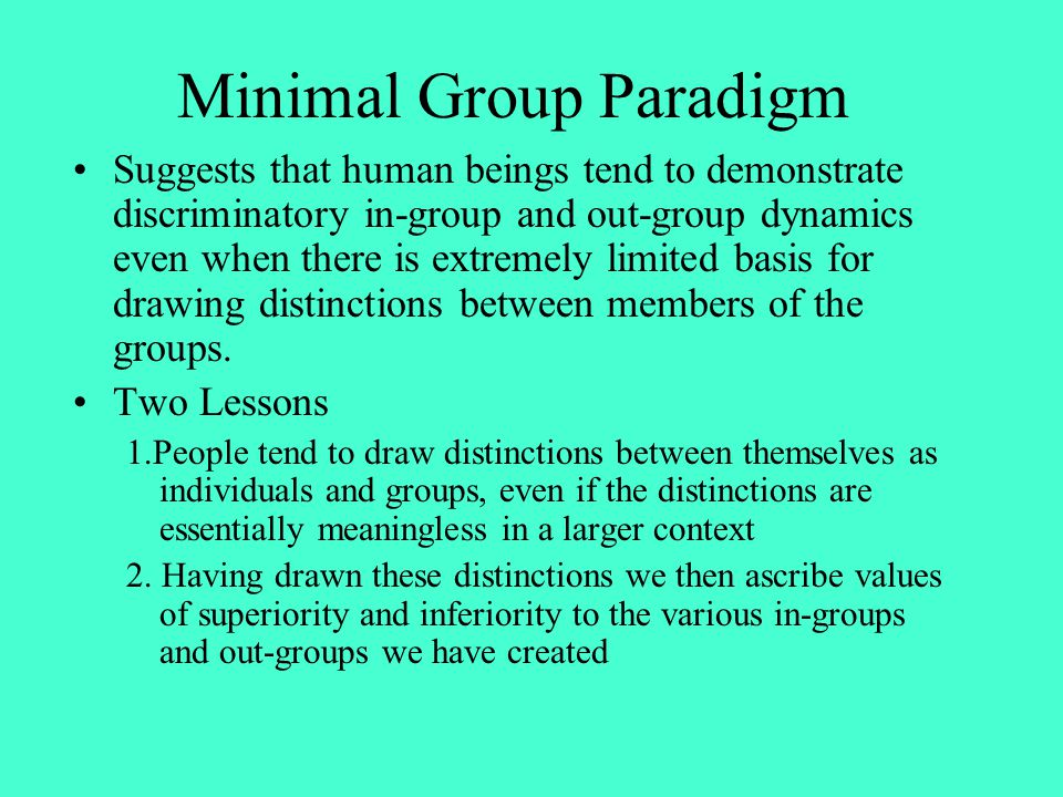 Minimal Group Paradigm