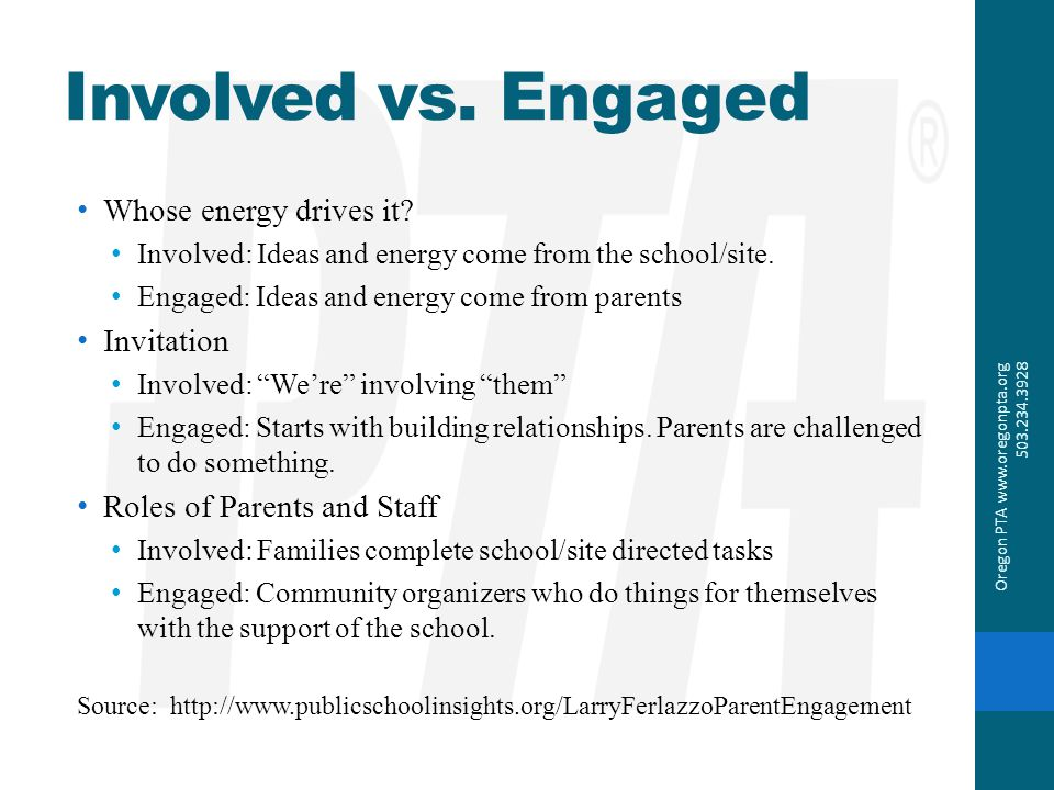 Involved vs. Engaged Whose energy drives it Invitation