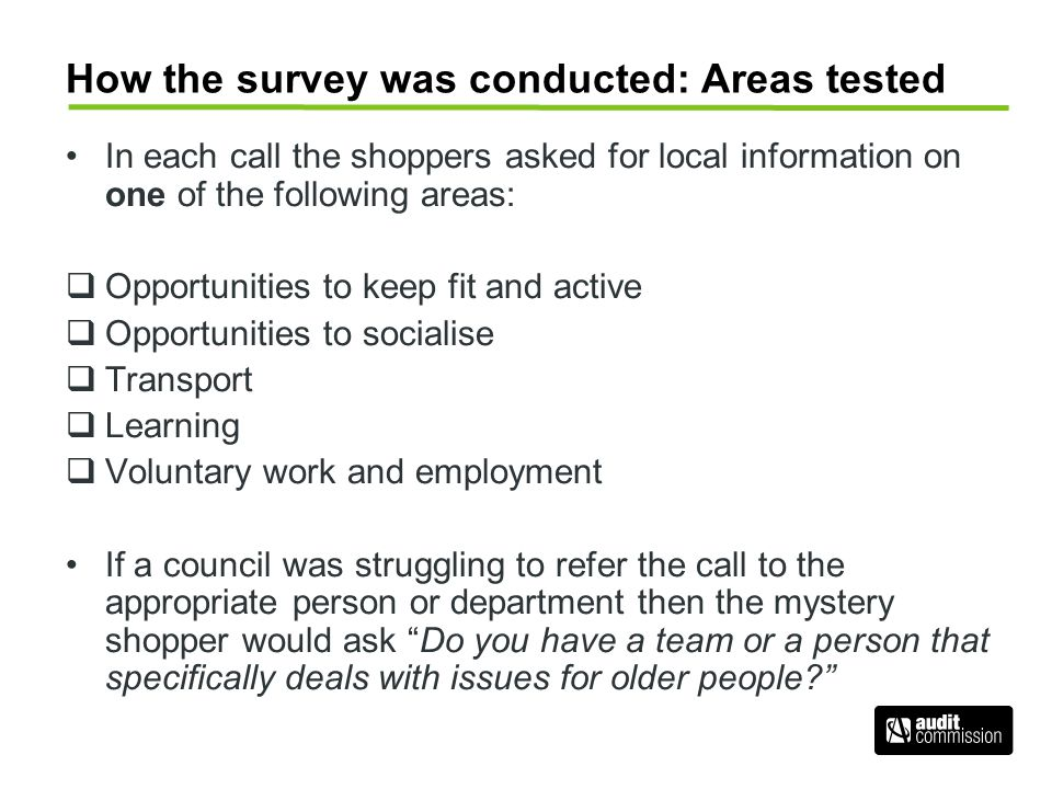 How the survey was conducted: Areas tested