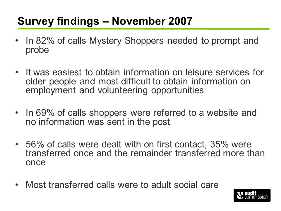 Survey findings – November 2007