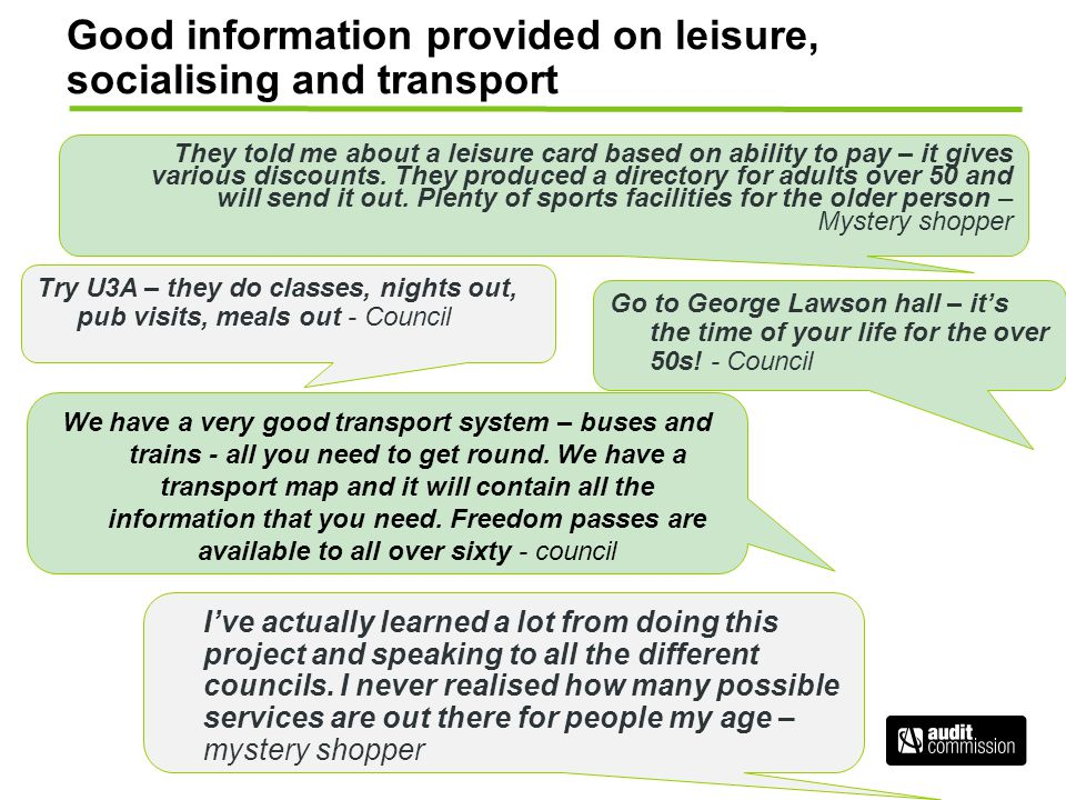 Good information provided on leisure, socialising and transport