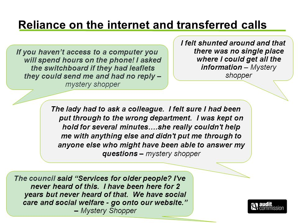 Reliance on the internet and transferred calls