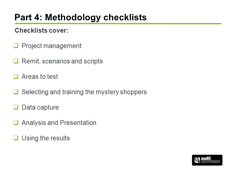 Part 4: Methodology checklists