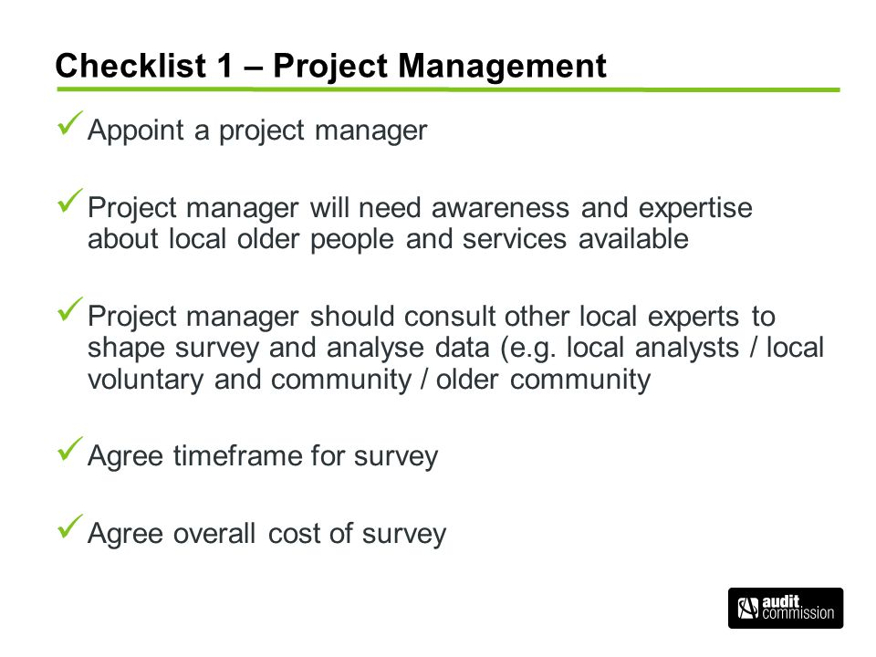 Checklist 1 – Project Management