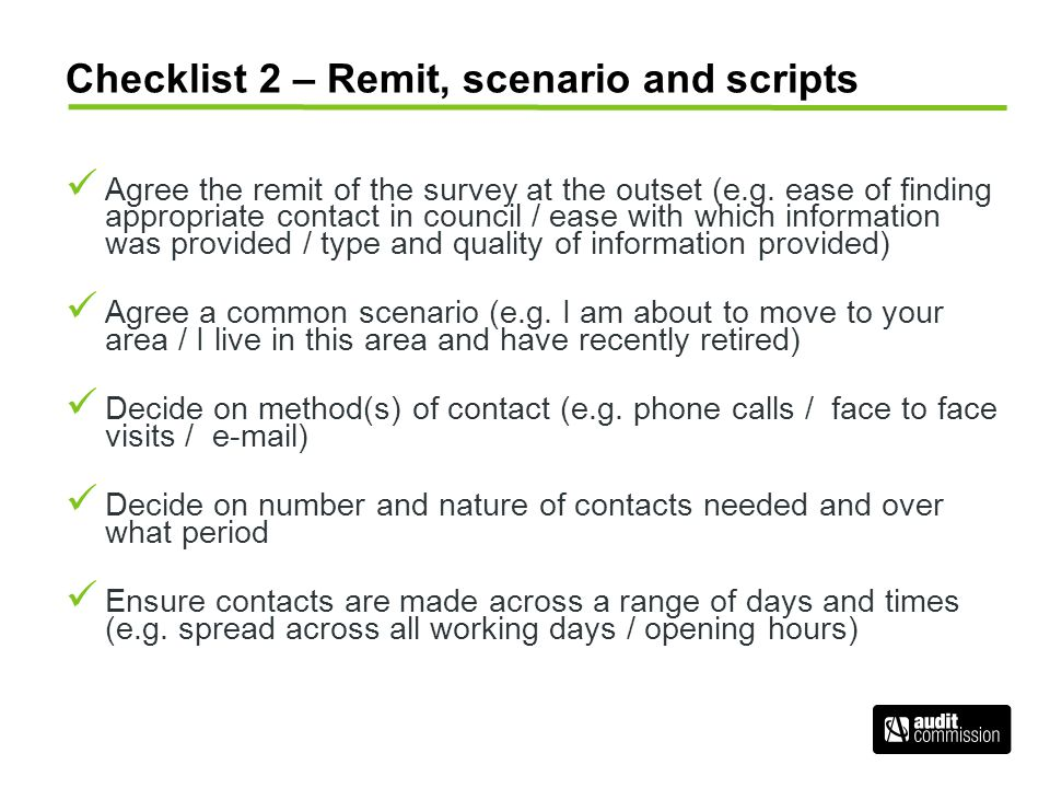 Checklist 2 – Remit, scenario and scripts