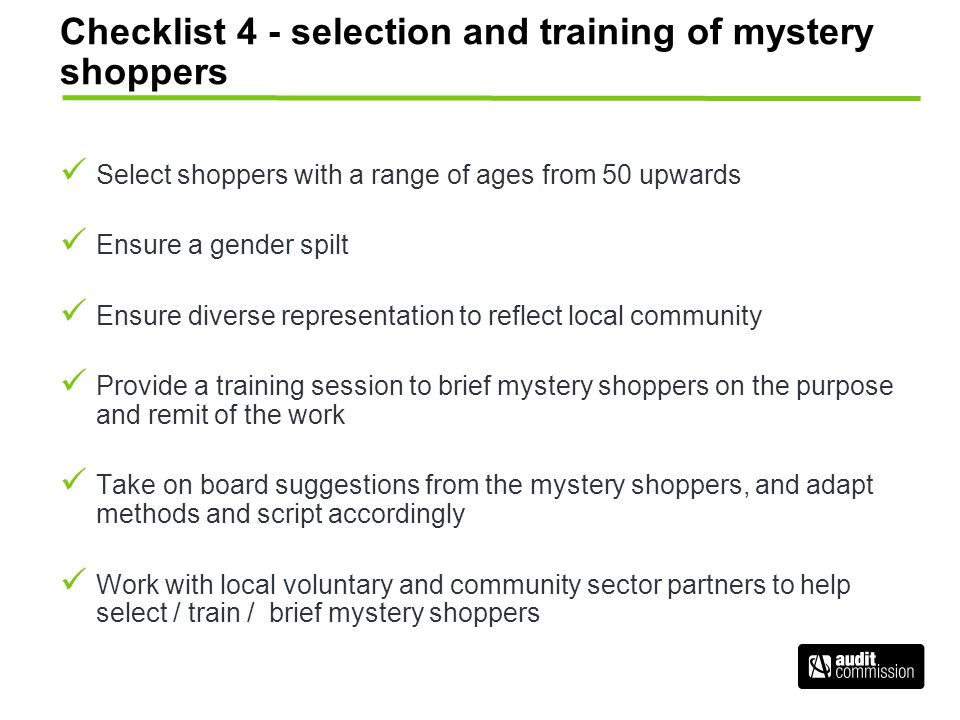 Checklist 4 - selection and training of mystery shoppers