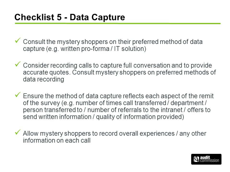 Checklist 5 - Data Capture