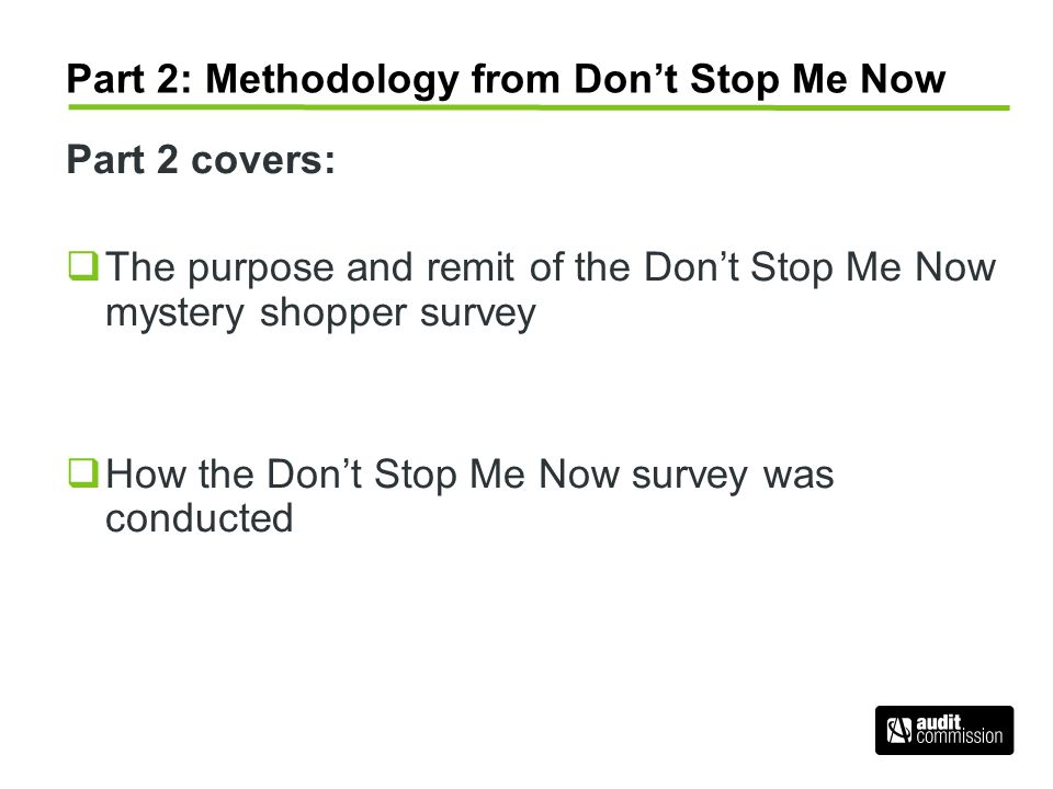Part 2: Methodology from Don't Stop Me Now