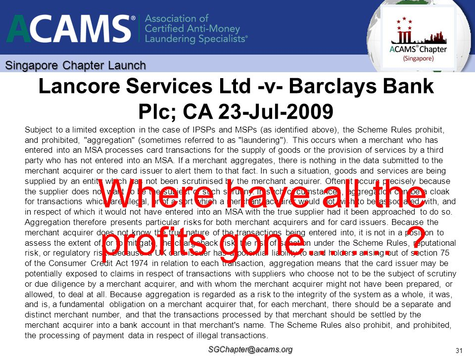 Lancore Services Ltd -v- Barclays Bank Plc; CA 23-Jul-2009