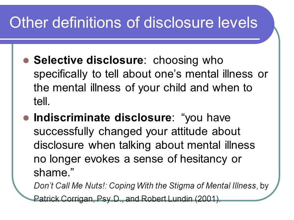 Other definitions of disclosure levels