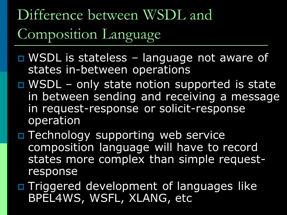 Difference between WSDL and Composition Language