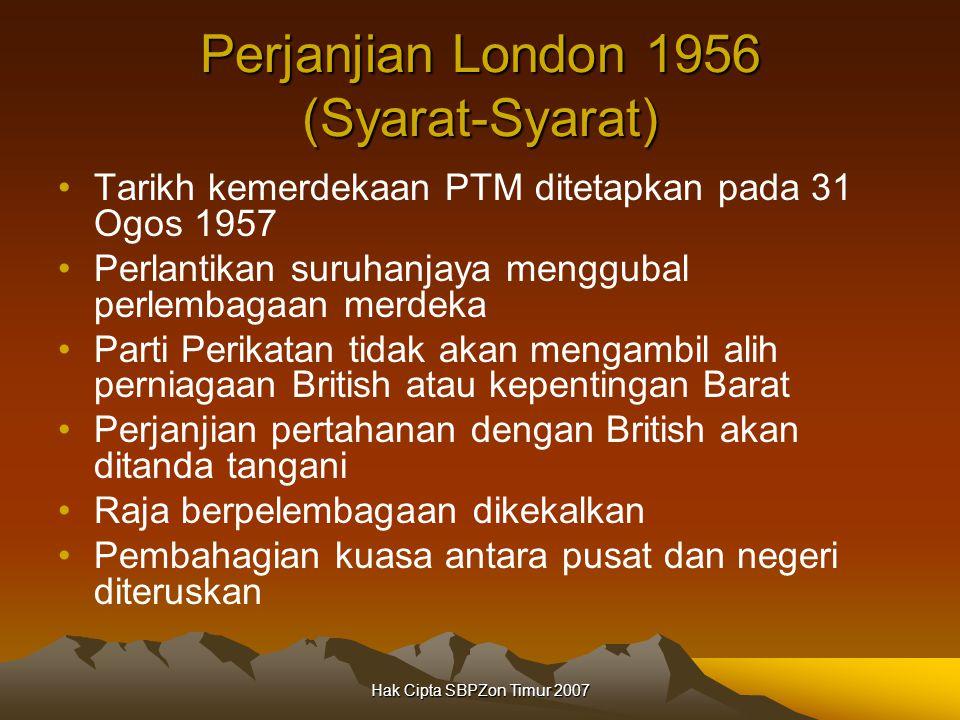 Perjanjian London 1956 (Syarat-Syarat)