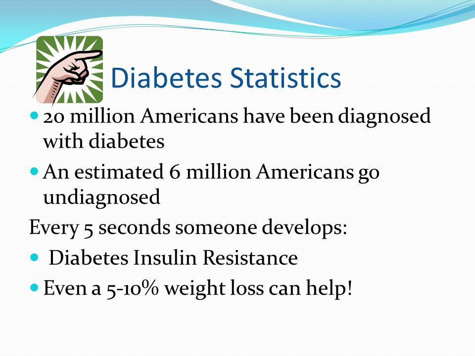 Diabetes Statistics 20 million Americans have been diagnosed with diabetes. An estimated 6 million Americans go undiagnosed.