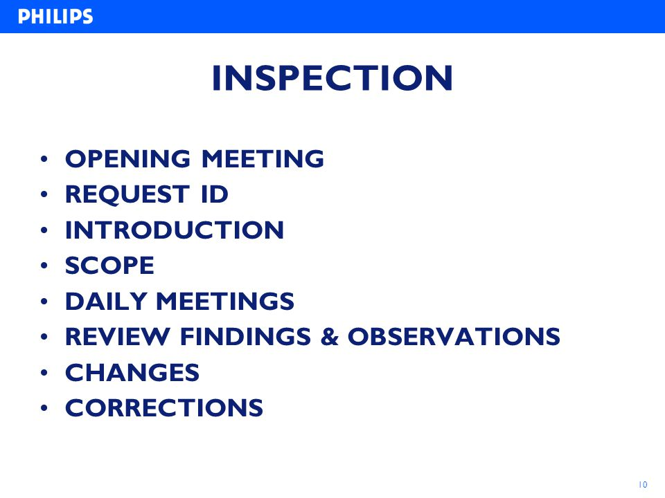 INSPECTION OPENING MEETING REQUEST ID INTRODUCTION SCOPE