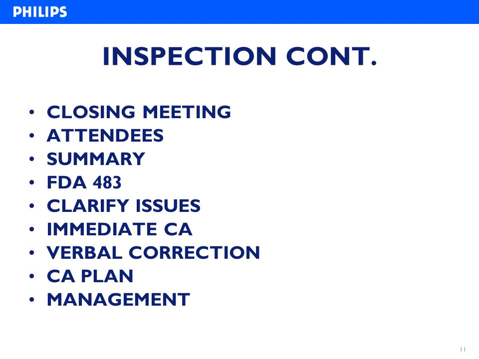 INSPECTION CONT. CLOSING MEETING ATTENDEES SUMMARY FDA 483