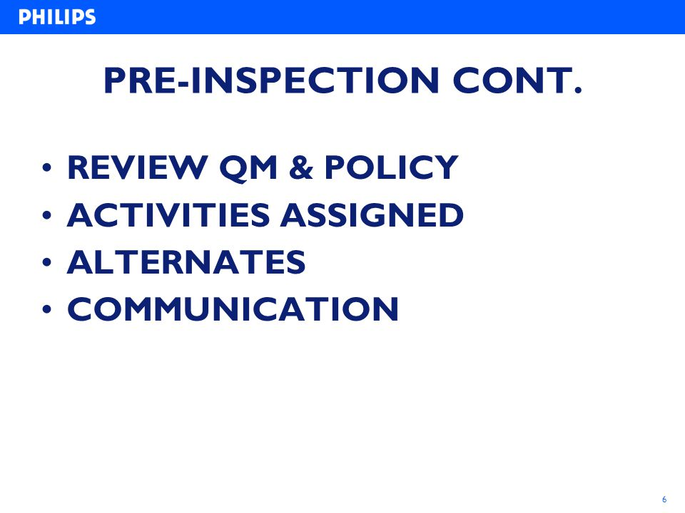 PRE-INSPECTION CONT. REVIEW QM & POLICY ACTIVITIES ASSIGNED ALTERNATES