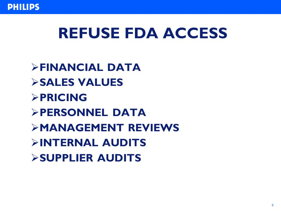 REFUSE FDA ACCESS FINANCIAL DATA SALES VALUES PRICING PERSONNEL DATA