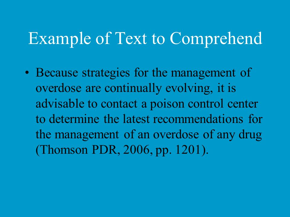 Example of Text to Comprehend