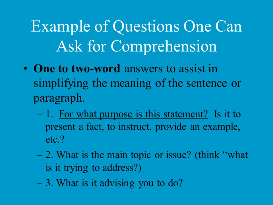 Example of Questions One Can Ask for Comprehension