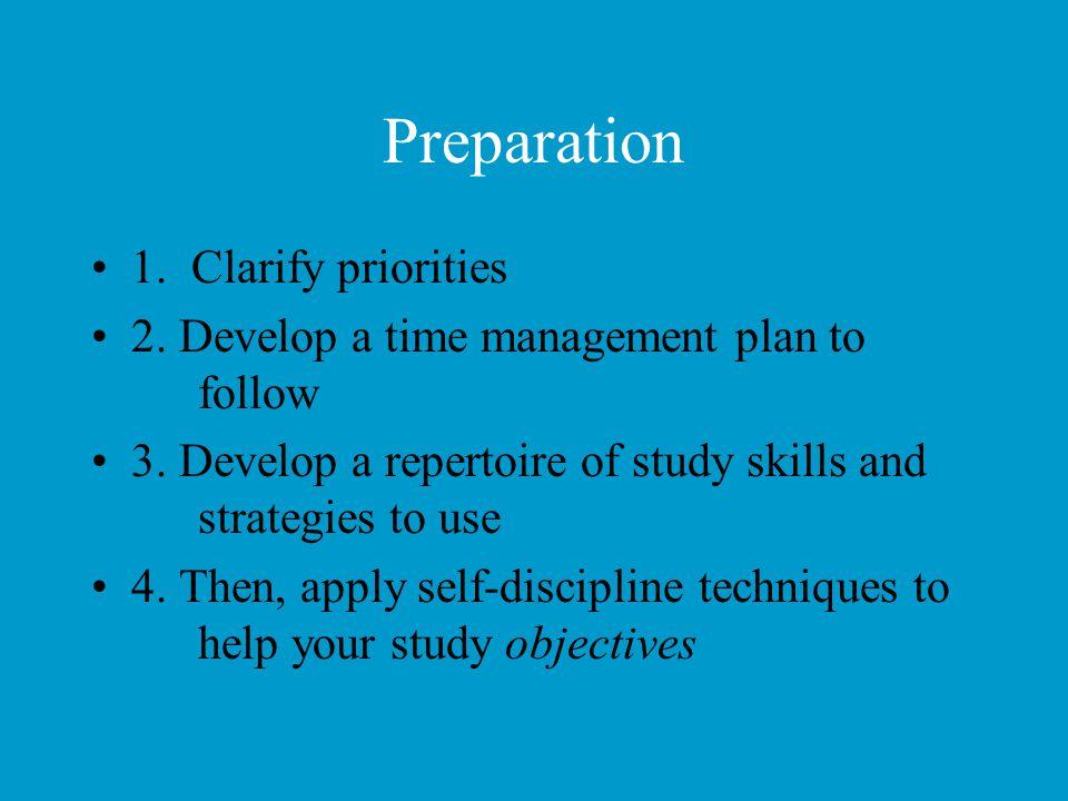 Preparation 1. Clarify priorities