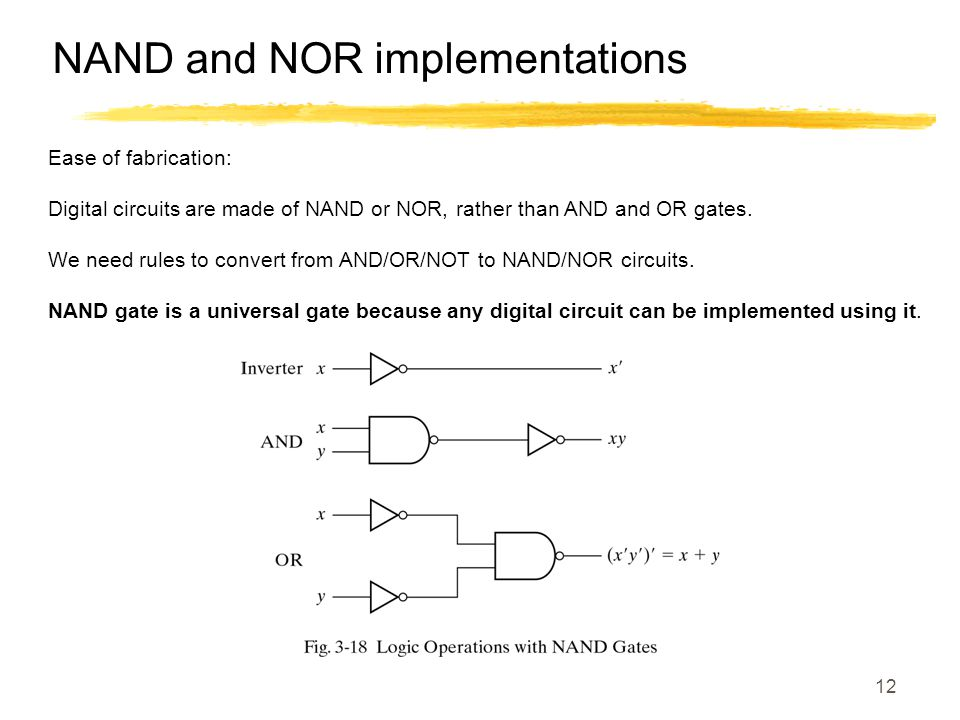 NAND and NOR implementations