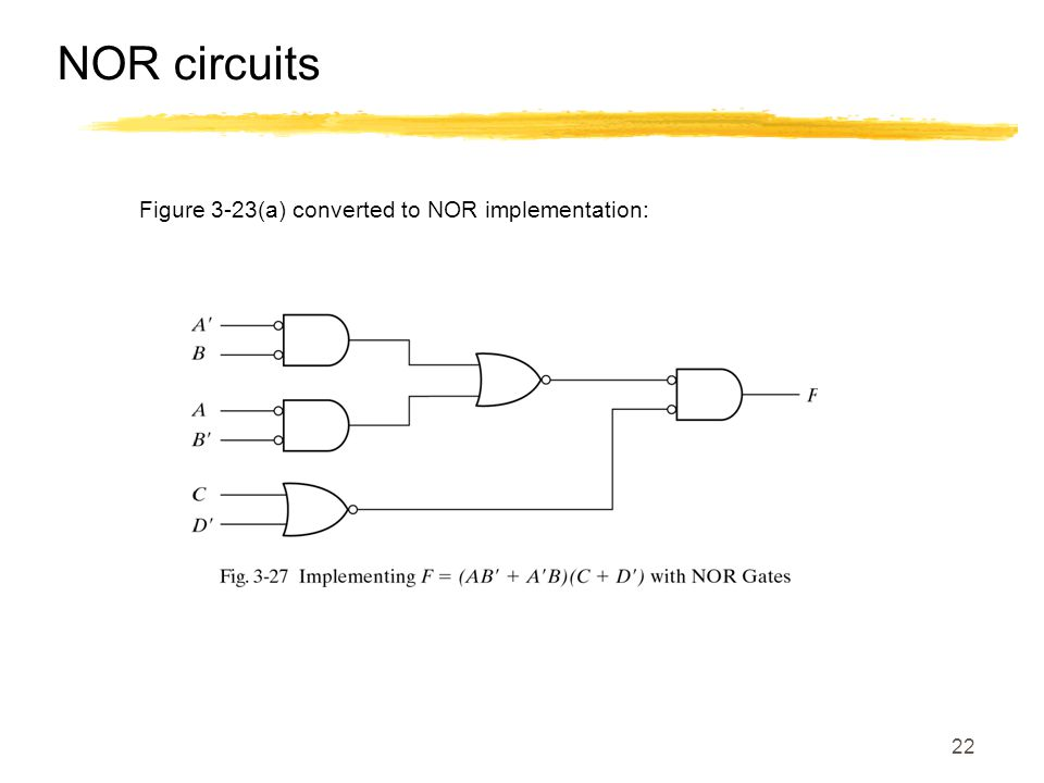 NOR circuits Figure 3-23(a) converted to NOR implementation: