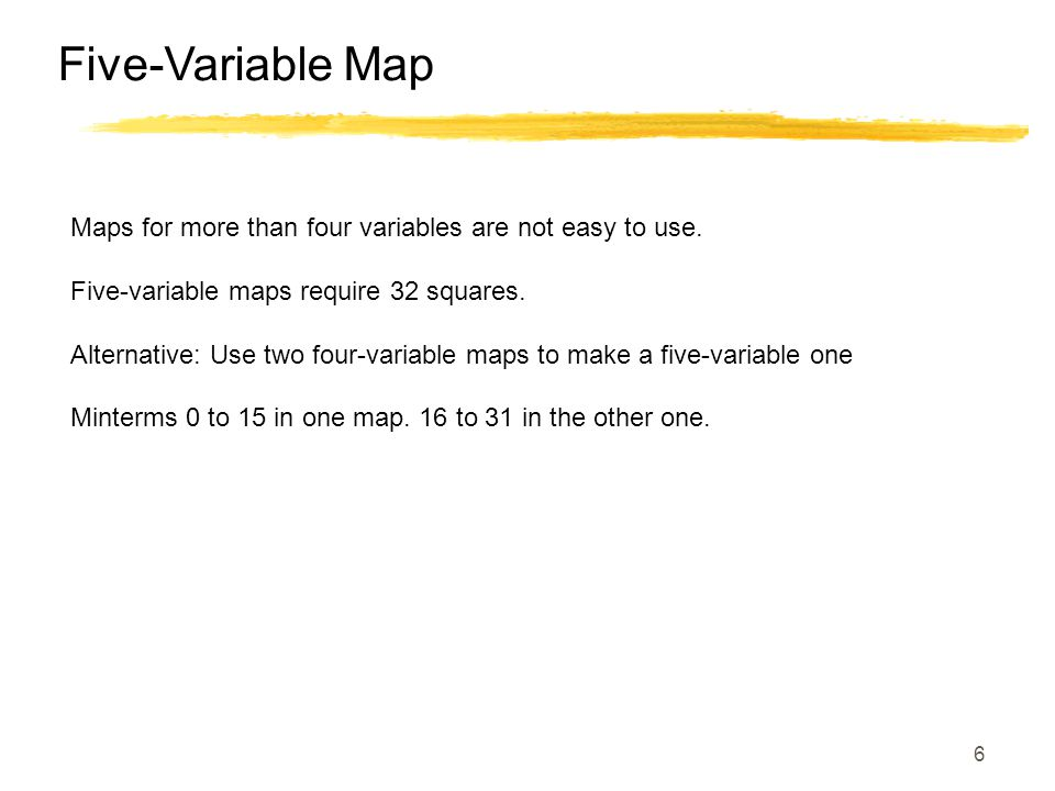 Five-Variable Map Maps for more than four variables are not easy to use. Five-variable maps require 32 squares.